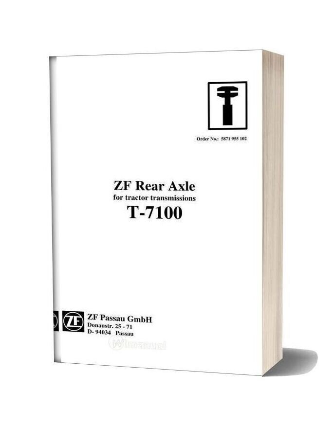 Zf Rear Axle Transmssion T 7100 Workshop Manual